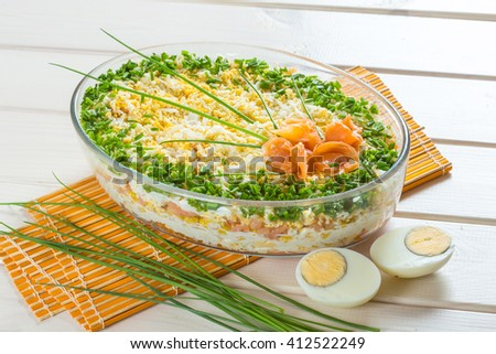 """Traditional and regional fish and egg salad called """"szuba"""" - stock photo"""