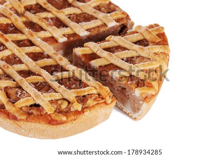 Traditional apple pie isolated on white - stock photo