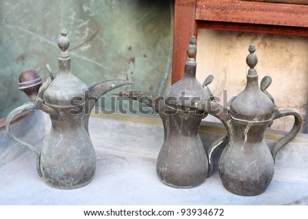 Traditional Arabic Coffee Pots for sale in Souq Waqif, Doha Qatar - stock photo
