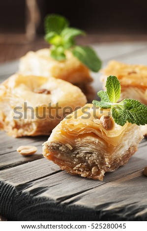 Traditional arabic dessert Baklava with honey, selective focus