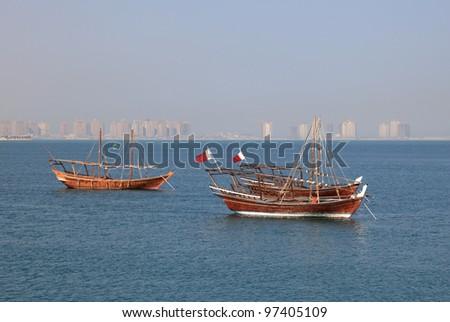Traditional arabic dhow in Doha, Qatar - stock photo