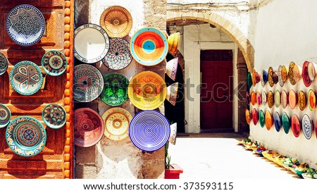 Traditional arabic handcrafted, colorful decorated plates shot at the market in Marrakesh, Morocco, Africa. - stock photo