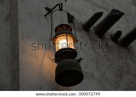 Traditional Arabic Lantern in Sharjah, hung against wall