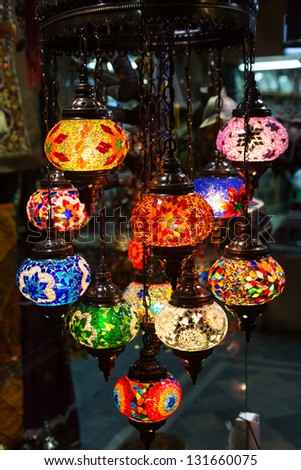 Traditional arabic lanterns on the market - stock photo