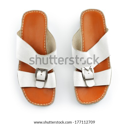 Traditional Arabic sandals shot against a white background - stock photo