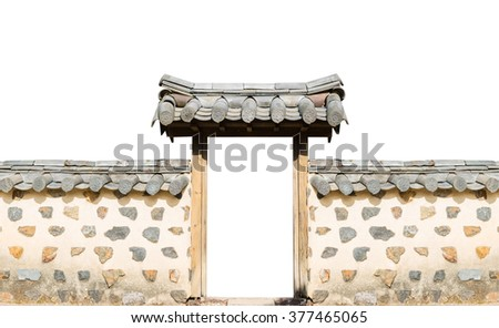 Traditional arched entrance of ancient korea building on white background. - stock photo