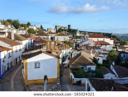 Traditional architecture in Medieval Portuguese Town of Obidos, Portugal