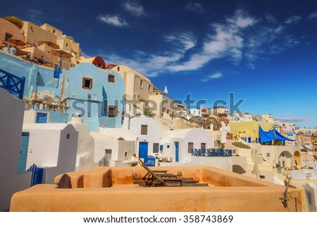 Traditional architecture in Oia village, Santorini, Greece - stock photo