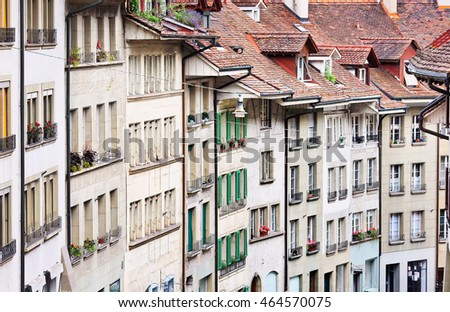 Traditional architecture in the Old Town of Bern, Switzerland
