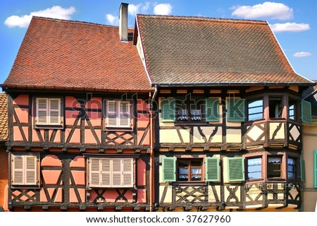 Traditional architecture of El'zas, France - stock photo