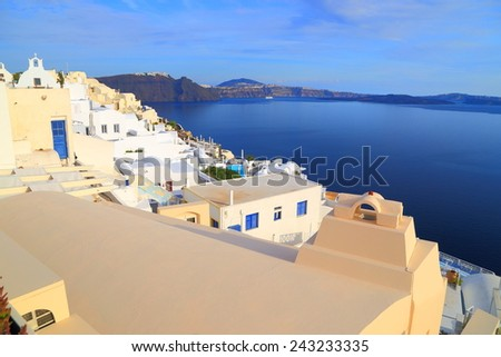 Traditional architecture of Greek houses above the sea on the island of Santorini, Greece