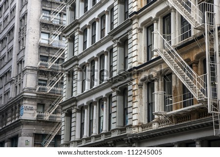 Traditional architecture of Manhattan building, New York - stock photo