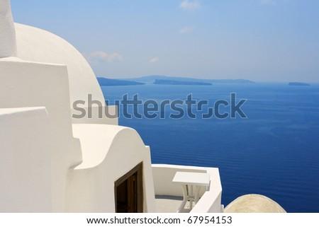 Traditional architecture of Santorini island, Greece - stock photo
