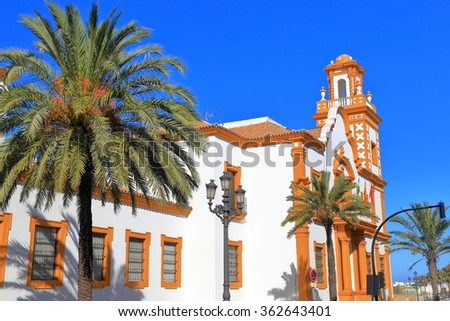 Traditional architecture of sunny building in Cadiz, Andalusia, Spain - stock photo