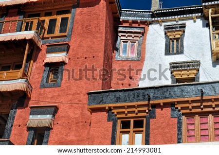 Traditional architecture of the Thiksey monastery in Ladakh, India