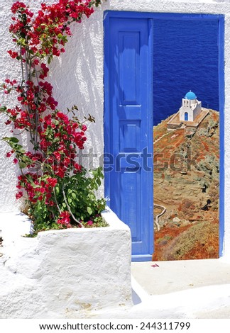 Traditional architecture on Sifnos island, Greece - stock photo