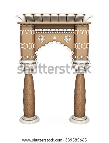 Traditional Asian Column Arch Isolated on White. 3d rendering. - stock photo