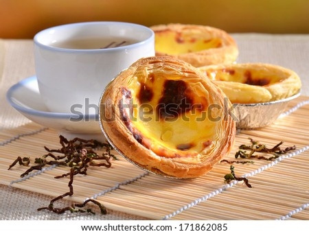 Traditional asian dessert egg tarts - stock photo
