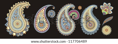 traditional Asian elements Paisley on a black background - stock photo
