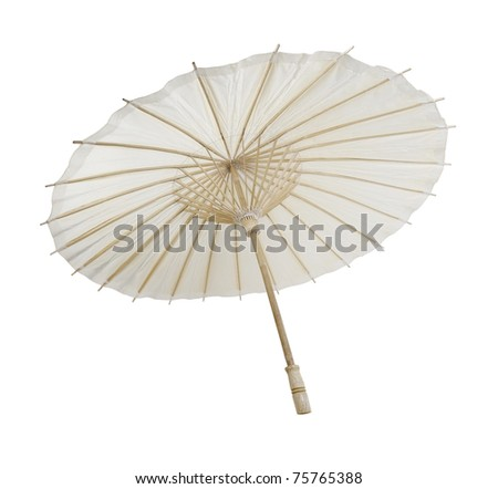 Traditional Asian paper and bamoo umbrella with a rounded handle - path included - stock photo