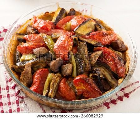 Traditional Aubergine Eggplant Meal - stock photo