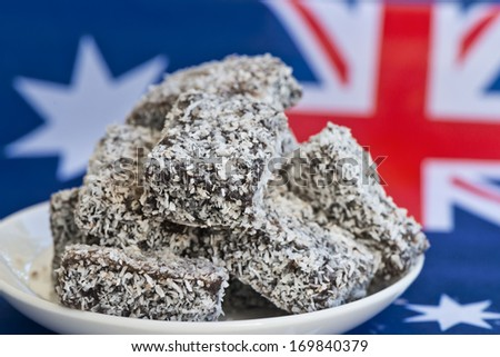 Traditional Australian food, lamingtons are a treat all year round, but especially on Australia Day. - stock photo