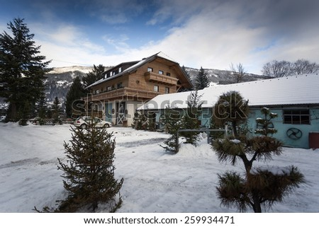 Traditional Austrian wooden house in pine forest at snowy day - stock photo