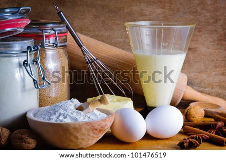 traditional baking ingredients - stock photo