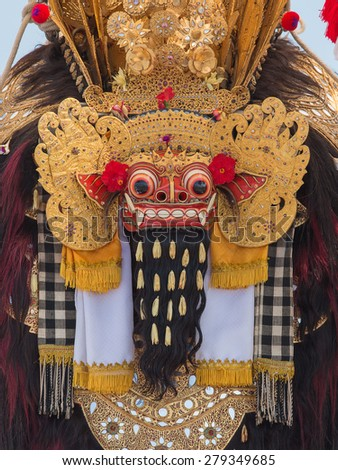 Traditional Balinese Barong mask during celebrate Balinese New Year and the arrival of spring on the beach Ketewel. Bali, Indonesia - stock photo