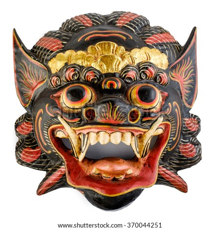 Traditional Balinese mask isolated on white - stock photo