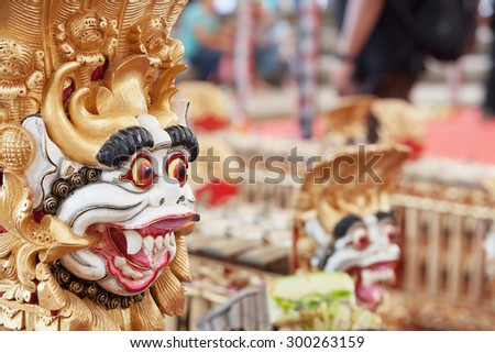 Traditional Balinese musical orchestra Gamelan - percussion instruments decorated by mythological animals - Barong. Arts, Music and culture of Bali and Indonesian people and asian travel backgrounds - stock photo