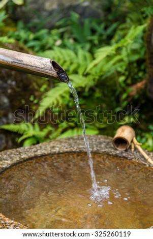 Traditional bamboo fountain - stock photo