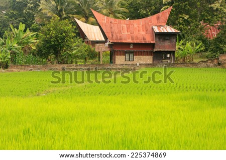 Traditional Batak house on Samosir island, Sumatra, Indonesia, Southeast Asia - stock photo