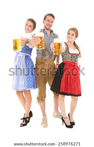 Traditional bavarian group - stock photo