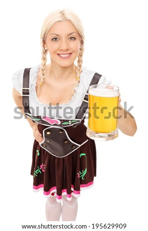 Traditional Bavarian woman holding a pint of beer isolated on white background