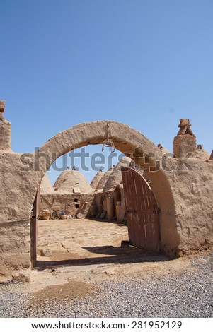 Traditional beehive mud brick houses and entry arch, Harran near the Syrian border, Turkey