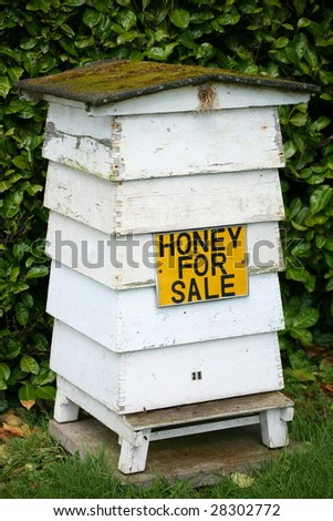 traditional beehive with honey for sale sign - stock photo
