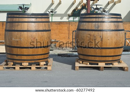 Traditional Beer Kegs at the Oktoberfest in Munich - stock photo
