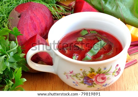 traditional beetroot soup - stock photo