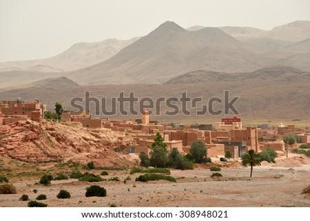 Traditional berber village in Atlas Mountain, Morocco - stock photo