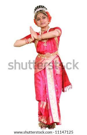 Traditional Bharatanatyam Indian dancer on pure white background - stock photo