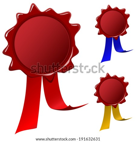 Traditional blank wax seal with ribbons in red, blue and yellow colors. - stock photo