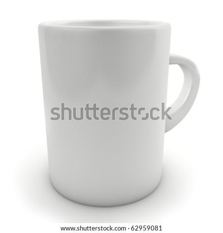 Traditional blank white mug isolated on white. - stock photo