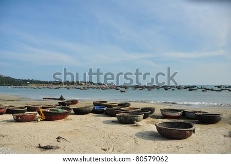 traditional boats in Vietnam - stock photo