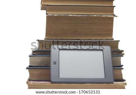 Traditional book and electronic book. - stock photo