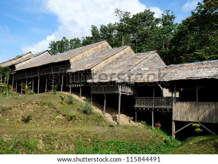 Traditional Borneo Longhouse in Sabah, Malaysia - stock photo