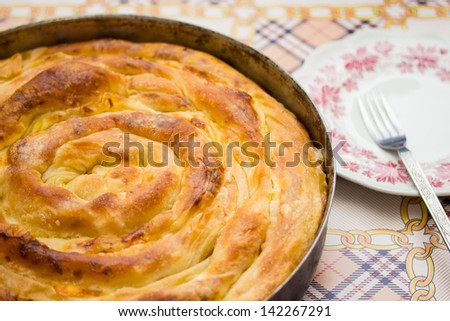 Traditional Bosnian cheese pie