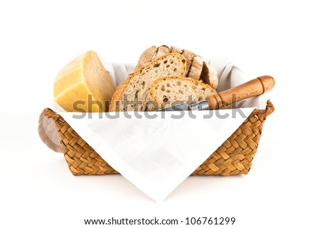 Traditional bread and cheese isolated on white background. - stock photo