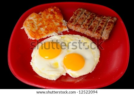 Traditional breakfast of eggs sausage and hash brown potatoes - stock photo