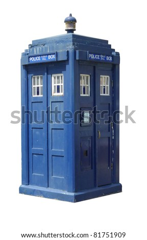 Traditional British police box; three-quarter view of old-fashioned police box, isolated against white ground - stock photo
